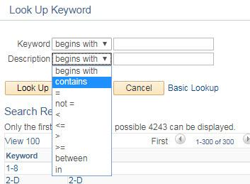 PeopleSoft Keyword Lookup pop-up